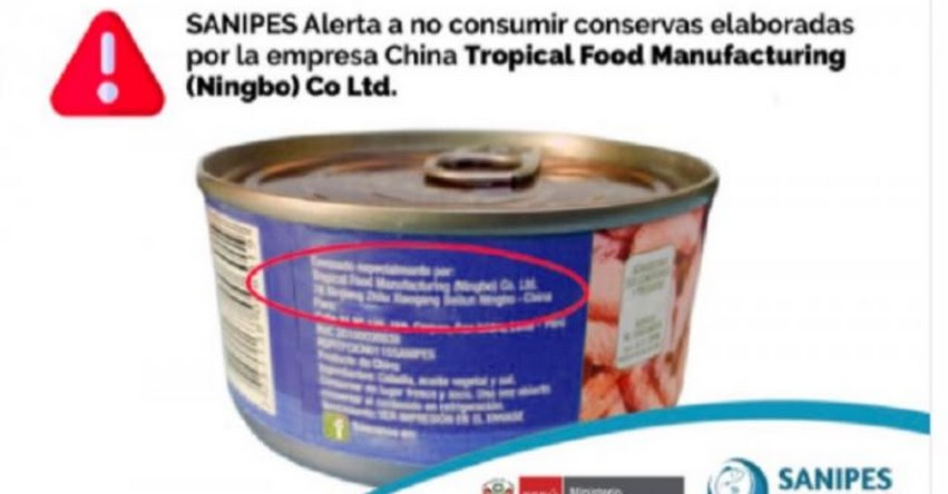ALERTA: Piden no consumir conservas de la empresa china Tropical Food Manufacturing