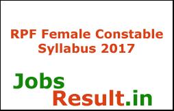 RPF Female Constable Syllabus 2017