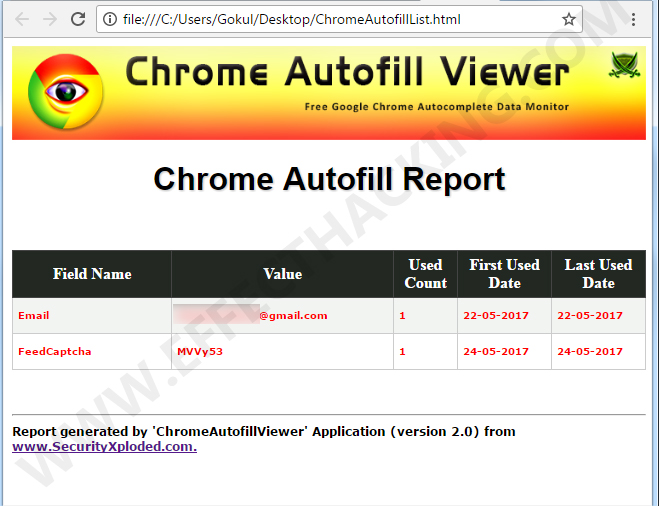Chrome Autofill Viewer Report Snapshot