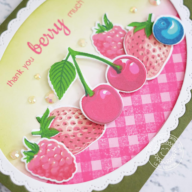 Sunny Studio Stamps: Berry Bliss Fancy Frames Background Basics Thank You Card by Lexa Levana