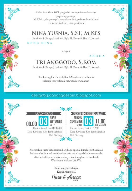 Contoh Desain Undangan Pernikahan Full Colour - Contoh ...