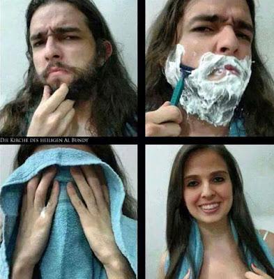 Neuer Look - Mann rasiert Bart ab - Vorher Nachher witzig