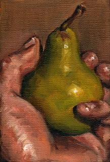 Oil painting of a green pear held in the palm of a hand.