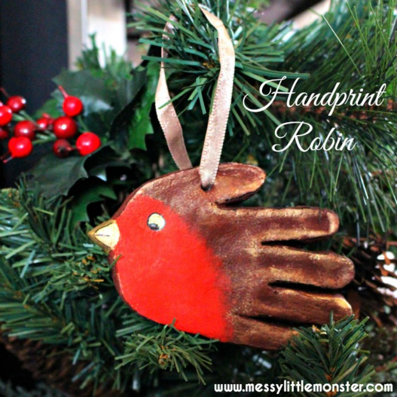 salt dough ornaments - Robin salt dough handprint ornaments - bird craft