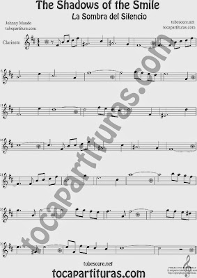 The Shadows of Your Smile  Partitura de Clarinete Sheet Music for Clarinet Music Score La Sombra de tu Sonrisa