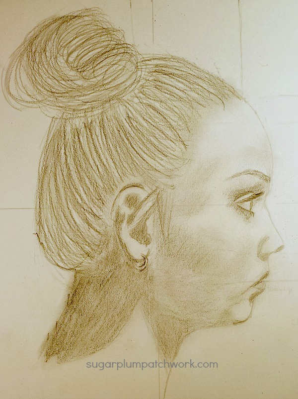 profile sketch of girl