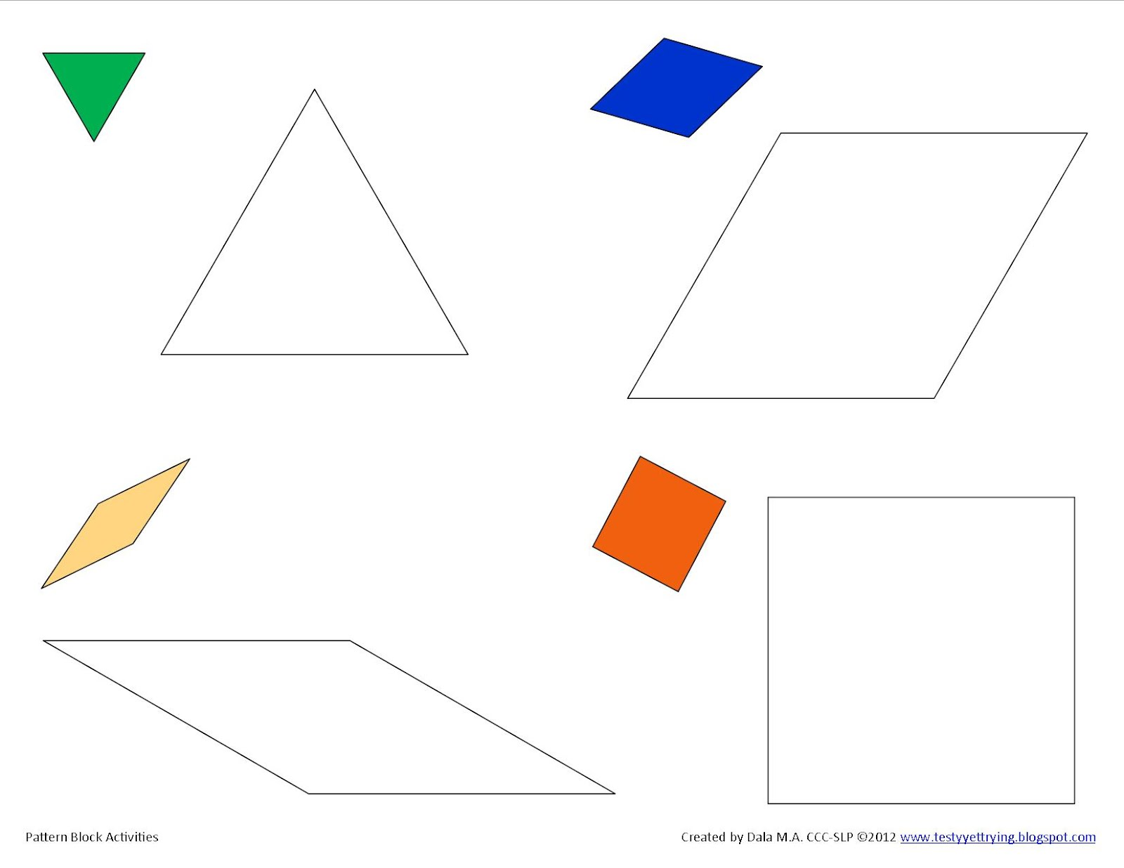 Testy Yet Trying Printable Pattern Block Activity Sheets
