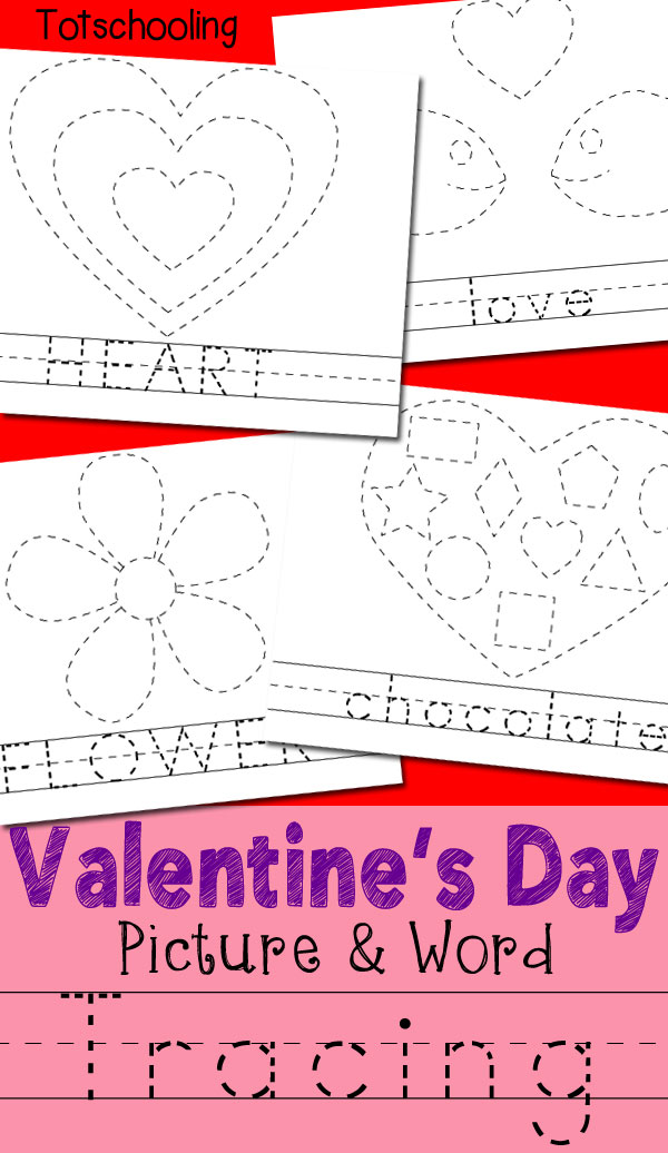 Valentines Day Picture Word Tracing Printables Totschooling