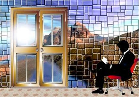 Paisagem com homem lendo jornal. Composição de Antonio Pereira Apon.