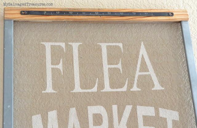 repurposed custom stenciled flea market window screen