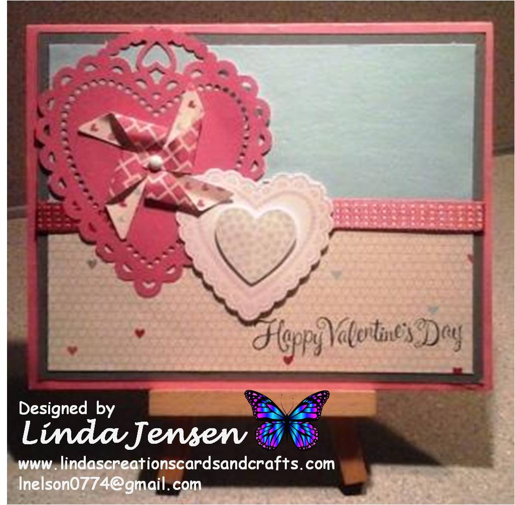linda s creations cards crafts gray and rose hearts a flutter card