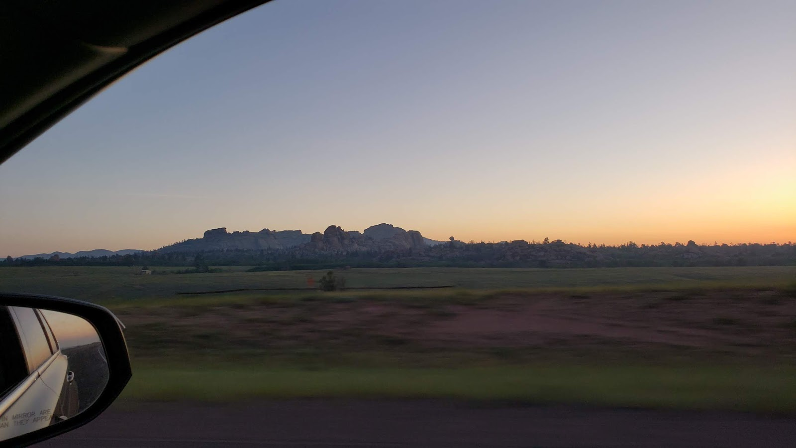 Wyoming summer sunrise from the car