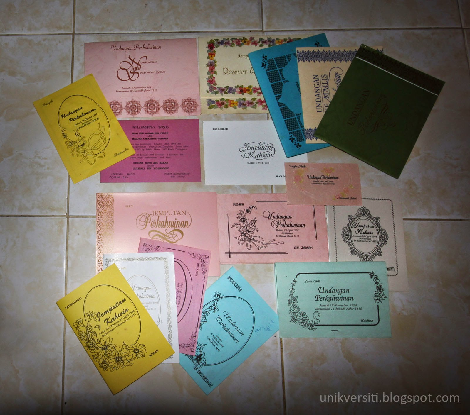 Kad Jemputan Kahwin tahun 1991 - 1997