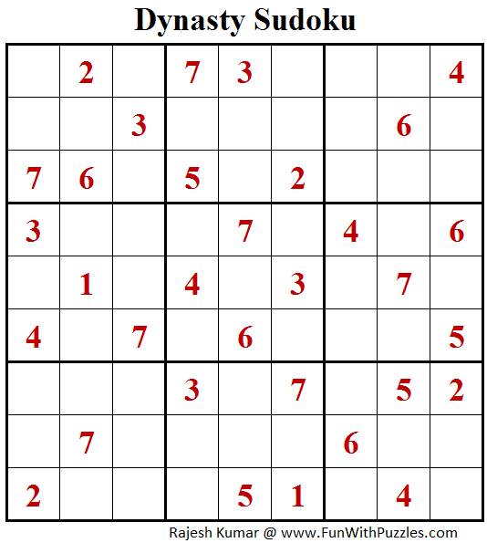 Dynasty Sudoku (Fun With Sudoku #167)
