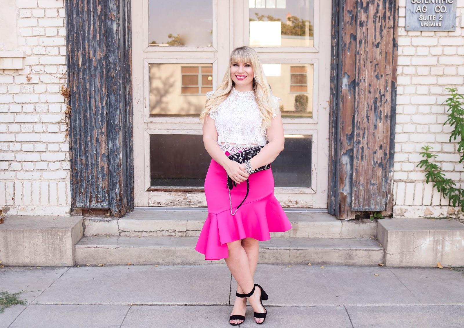 Hot Pink Ruffled Skirt