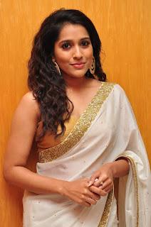Actress Rashmi Gautham Pictures in White Saree at tur Talkies Audio Launch  0002