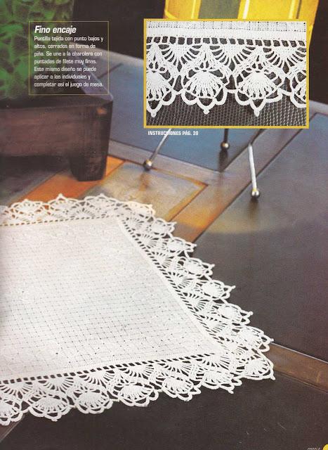 Patrón #1185: Puntilla para Individual a Crochet