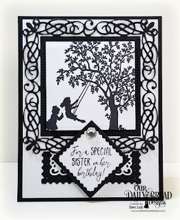 Our Daily Bread Designs Stamp Set: Sister in Christ, Custom Dies:Flourishy Frame, Lacey Corners, Pierced Rectangles, Filigree Frames, Squares