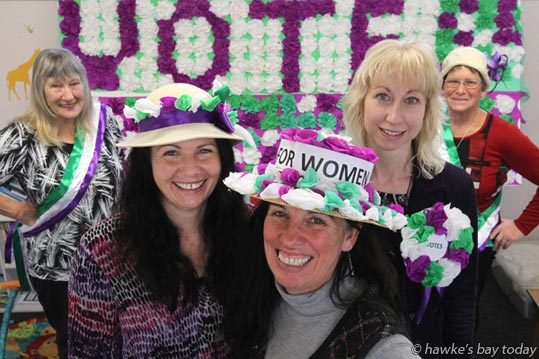 L-R: Judith Rarere-Ryan, Cathy Barclay, Margot Wilson, Heather Coombe, Shirley Price, staff and volunteers, Heretaunga Women's Centre, Hastings, gearing up for Suffrage celebrations and the Blossom Parade.  photograph