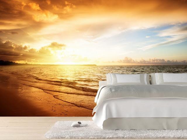 romantisk tapet sovrum solnedgång fototapet hav strand