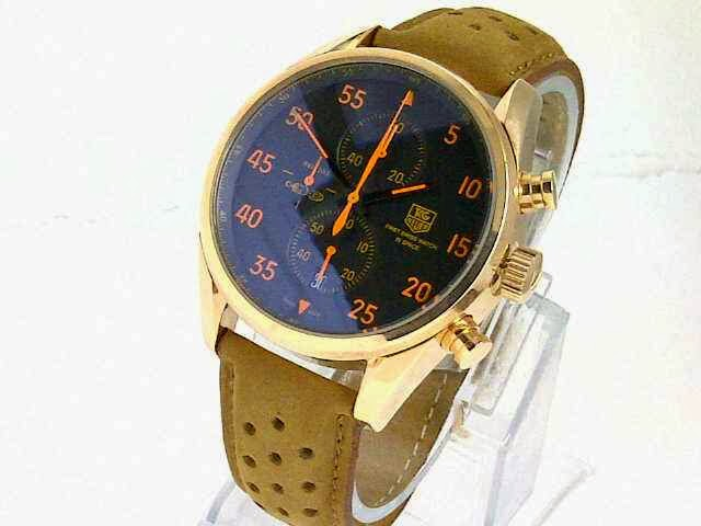 Jam TaG Heuer Space X Leather Rosegold Jarum Orange