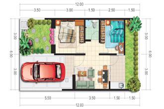 desain interior denah rumah type 36