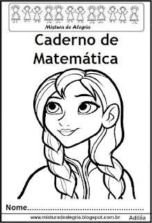 Capa para caderno matemática Frozen
