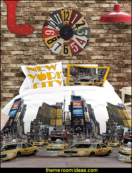 New-York City bedding urban style decorating travel theme bedrooms