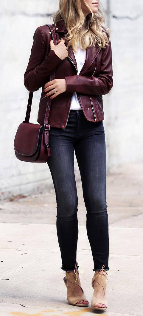 beautiful street style outfit: biker jacket + top + bag + skinnies