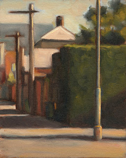 Oil painting of a street scene with telephone poles, a hedge and buildings.
