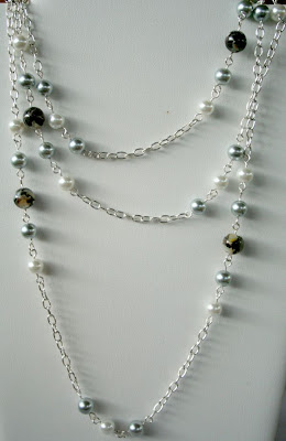 Summer Color Surprise Blog Hop: The Opera necklace (agate, glass pearls, sterling silver, wire wrapping) :: All Pretty Things