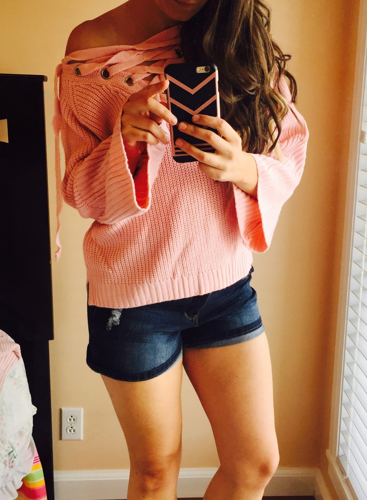 sexy lace up sweater, pink lace up sweater, short shorts, styles for less, stylesforless, amiclubwear,