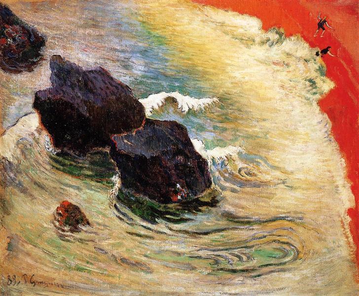 Paul Gauguin, Wellen, Meer, Natur, Kraft, zorn, widerstand, umwelt, klimaschutz, raubbau, menschen, profitgier, sand, strand, ufer, paintings, malerei, bild, poetische Art