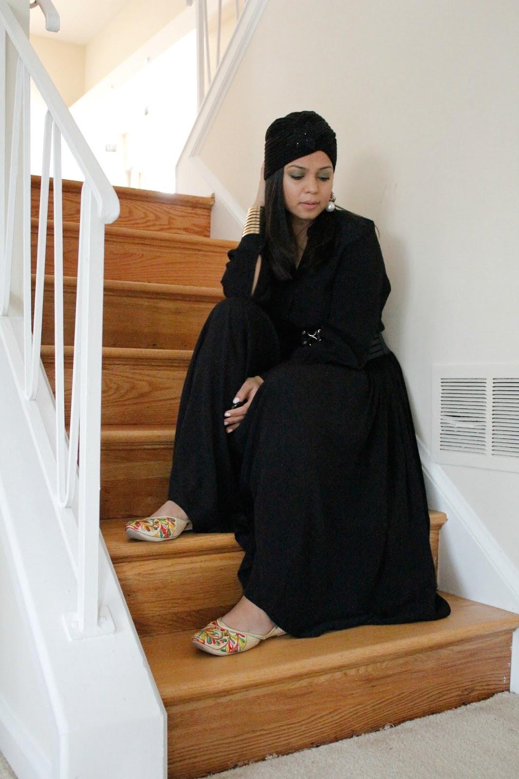H & M dress, harness belt, black monochromatic look