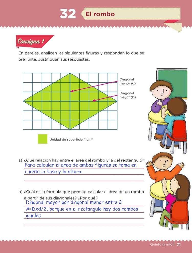 El romboDesafíos MatemáticosQuinto gradoContestado pagina 71