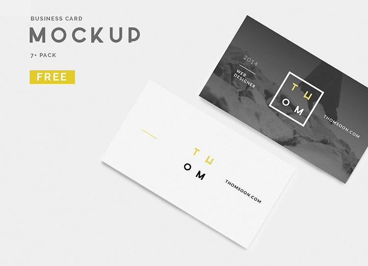 7 Clean Business Card Mockup PSD