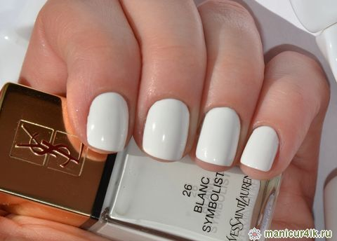white and short manis