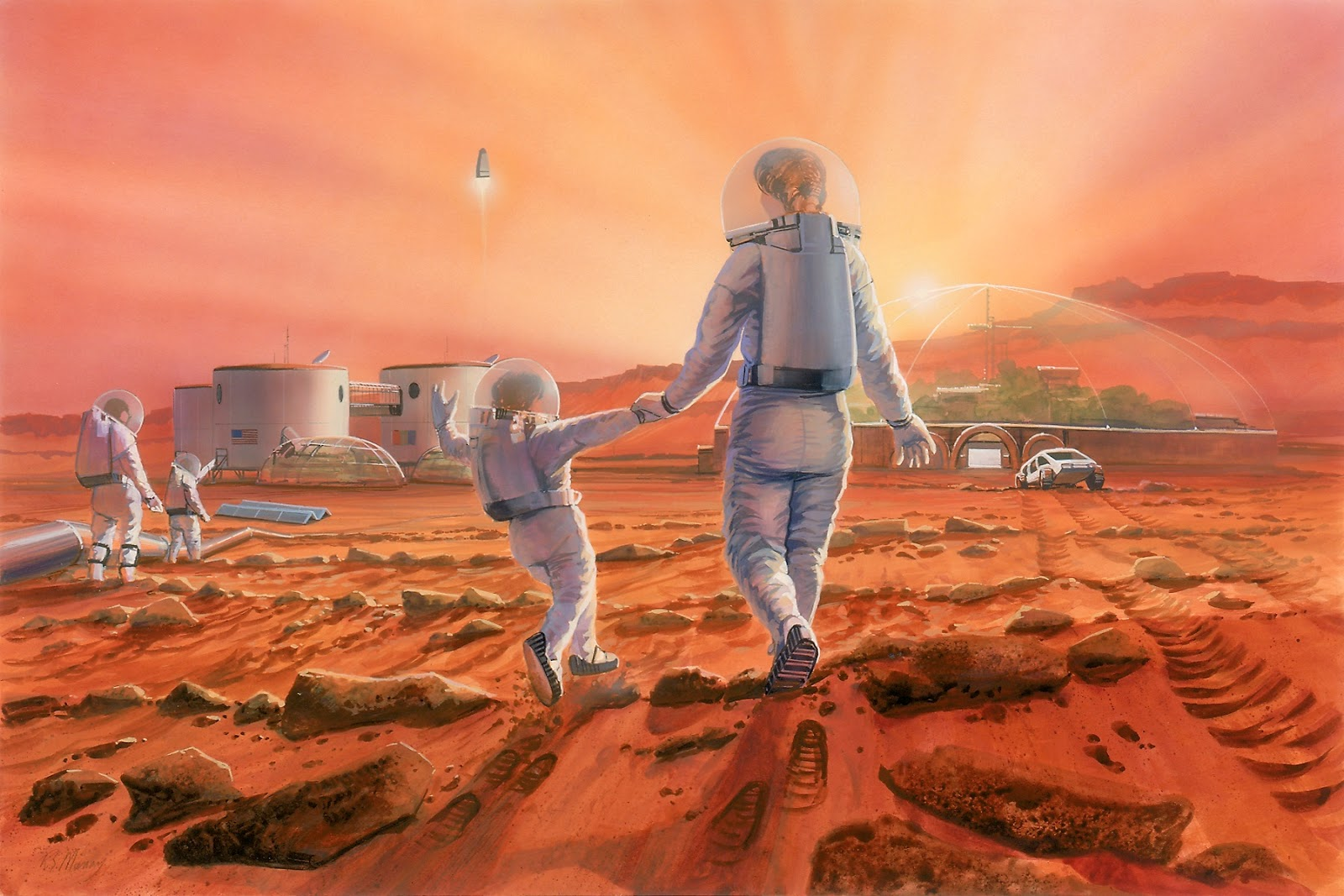 Family at the human colony on Mars by Robert Murray / The Mars Society