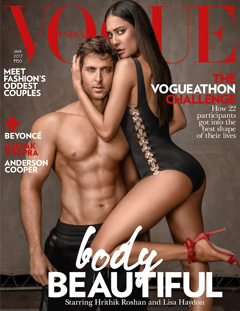 Latest Vogue Cover featuring Lisa Haydon and Hrithik Roshan is raising temperatures in the town