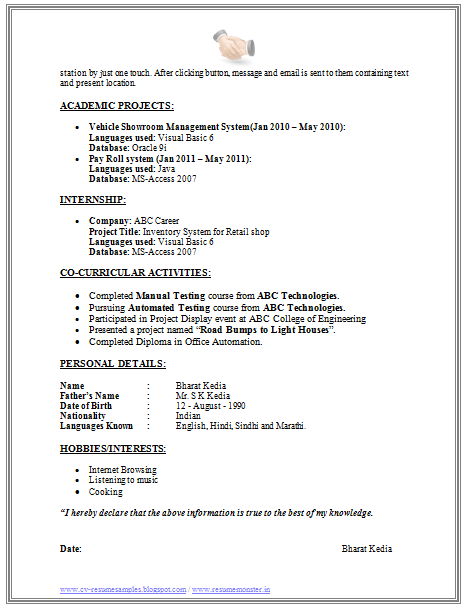 resume samples for software testing freshers - Sample Resume Software Tester