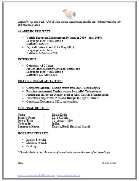 resume samples for software testing freshers - Sample Resume Software Tester