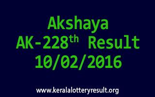 Akshaya AK 228 Lottery Result 10-02-2016