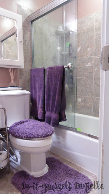 Renovated 1980's Tiny Master Bathroom: Glass Tub Doors