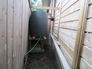 Rain barrel on platform in backyard