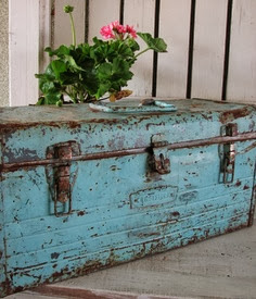 aqua metal trunk, rusted, marked, wabi sabi
