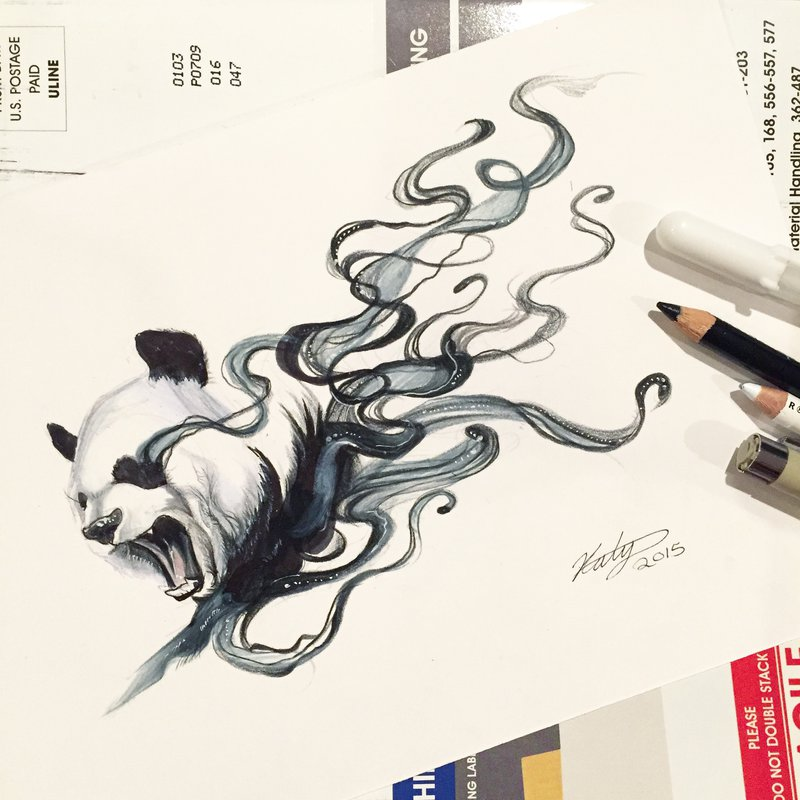 19-Disappearing-Panda-Katy-Lipscomb-Lucky978-Fantasy-Watercolor-Paintings-Colored-Pencils-Drawings-www-designstack-co