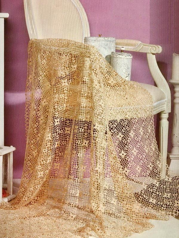 Crochet square lace motif throw