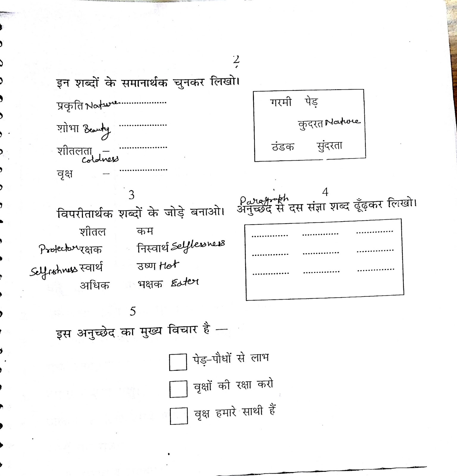 Hindi Grammar Work Sheet Collection For Classes 5,6, 7 & 8 Comprehensions Work Sheets For