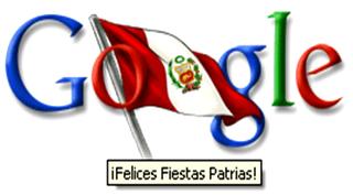 Imagen del saludo que hizo google al Perú por su día de la Independencia