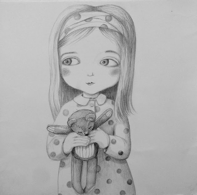 teddy bear drawing pencil art illustration girl dotted dress spotty